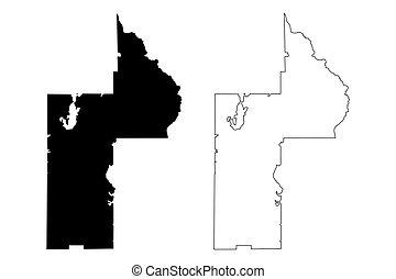 Lake County, Florida (U.S. county, United States of America, USA, U.S., US) map vector illustration, scribble sketch Lake map