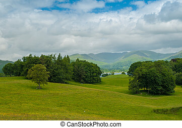 View across Lake Windermere to the Fairfield Horseshoe above Ambleside