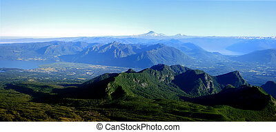 Lake District in Chile - the mountain range of the lake...
