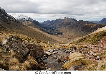 Lake district Landscape Assent of Great Gable - lake...