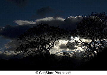 A dramatic night sky seen here in the lake district in Cumbria in the UK.