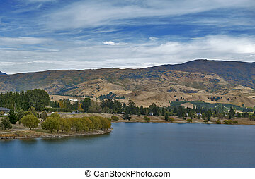 Lake Dunstan in the township of Cromwell, Central Otago, New Zealand