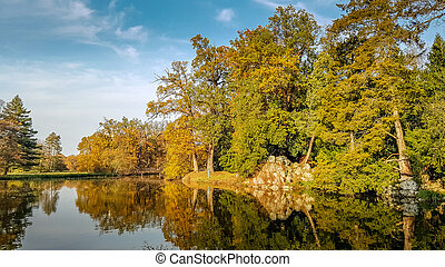 Lake during autumn in Lednice Park, Czech Republic
