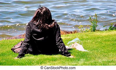lake., femme