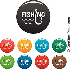 Lake fishing hook icons set color
