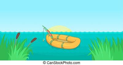 Lake fishing horizontal banner, cartoon style