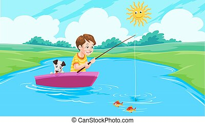 Lake Fishing, illustration - Lake Fishing, Boy and Dog on a...