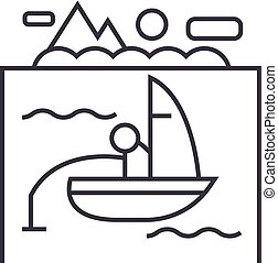 lake, fishing on boat vector line icon, sign, illustration on background, editable strokes