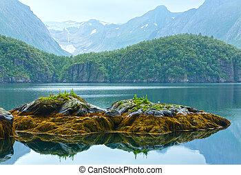 Lake (fjord) and Svartisen Glacier (Norway)