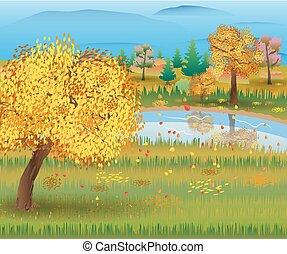 lake., foresta autunno, paesaggio, natura