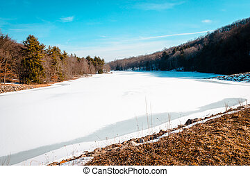 lake frozen over during the winter time in Pennsylvania