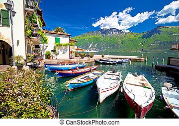 Lake Garda in town of Limone sul Garda waterfront...
