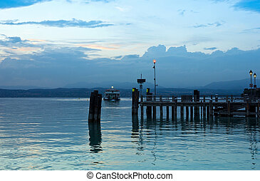 Lake Garda Pier and the Last Ferry for the day