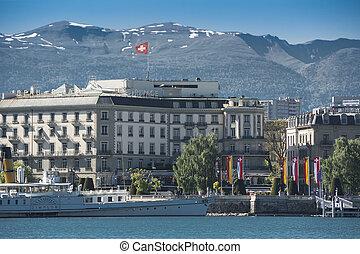 Lake Geneva and mountains