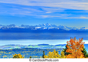 Autumn view of Mount Blanc, the French Alps and Lake Geneva.