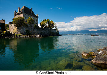 Yvoire's fortified castle is wonderfully reflected in the crystal clear waters of Lake Geneva