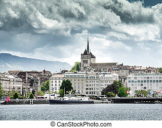 Lake Geneva Embankment on a clear day