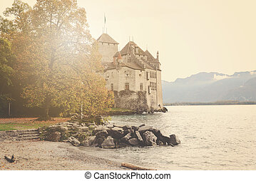 Lake Geneva Switzerland in winter with Instagram Style Filter