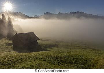 Lake Geroldsee sunrise and mist
