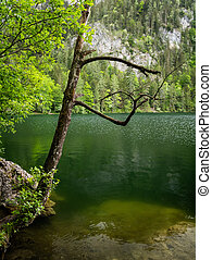 Lake Gleinkersee in Upper Austria on a cloudy day in springtime