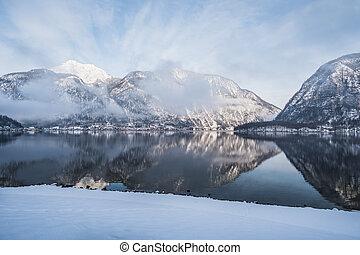 Lake Hallstatt in Winter in the Salzkammergut, Upper Austria