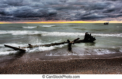 Lake Huron at Dusk - Lake Huron, bounded on the west by the...