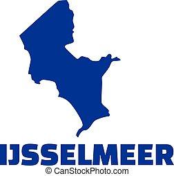 Lake IJsselmeer silhouette with name