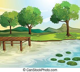 Illustration of a lake scene