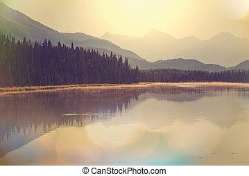 Lake in Alaska - Serenity lake in Alaskan tundra