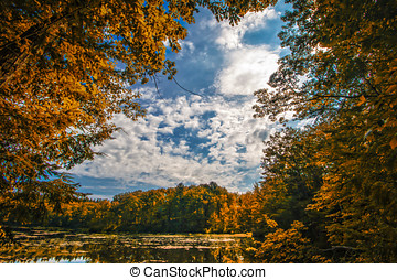 Lake in Autumn - Tress in Autumn colors surround this...