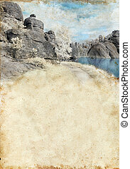 Lake in Black Hills on Grunge Background