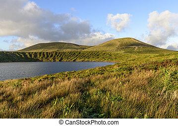 Lake in crater of Lagoa Rasa, Flores island, Azores archipelago (Portugal)
