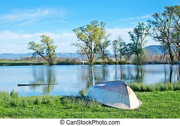 Lake in Crimea - lake in Crimea, spring nature in Crimea