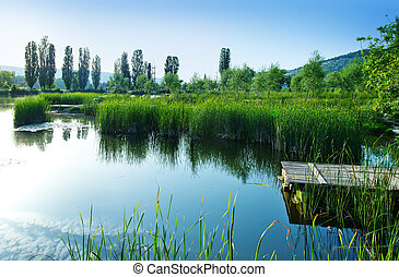 Lake in Crimea - Spring lake in Crimea, lake coastand sky