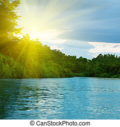 Lake in deep forest on sunset time
