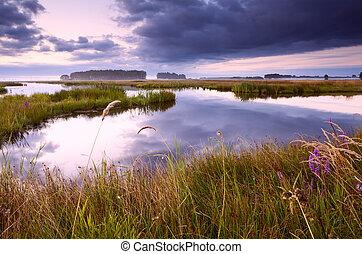 lake in Drenthe at sunrise