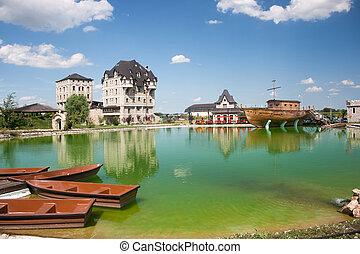 Lake in ethno village near Bijeljina, Bosnia and Herzegovina