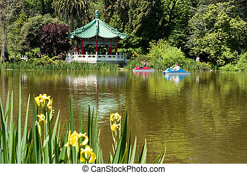 lake in Golden Gate park with pedal boats