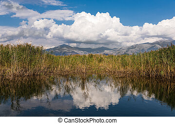 Lake in Greece - View of the shore of the Mikri (Small) ...