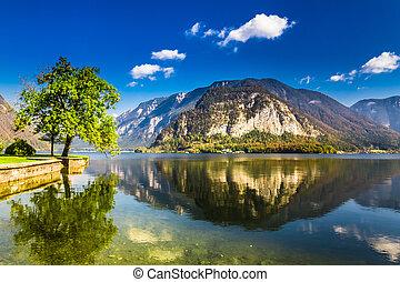Lake in Hallstatt at summer in Alps, Austria