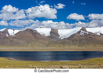 Lake in high snowy Tien Shan mountains