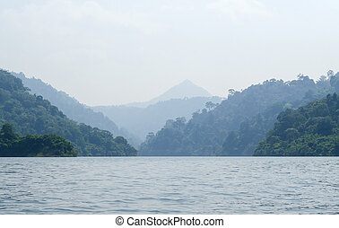 Lake in Nakhonnayok at the mountains, in Thailand
