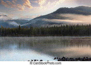 Lake in Oregon - Serene beautiful lake in morning mountains...