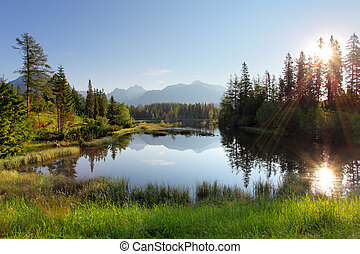 Lake in Slovakia mountain, Strbske pleso