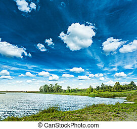 lake in spring with beautiful cloudy sky