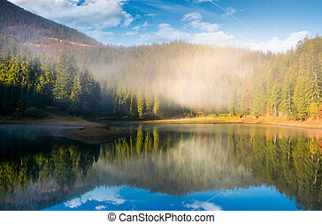 lake in spruce forest at foggy sunrise