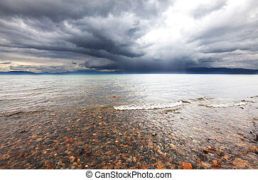 Lake in storm