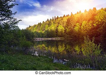 lake in sunset