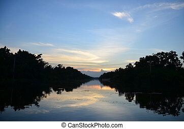 Lake in Sunset time