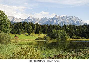 Lake in the alps - Lake in the Karwendel mountains (Bavaria,...